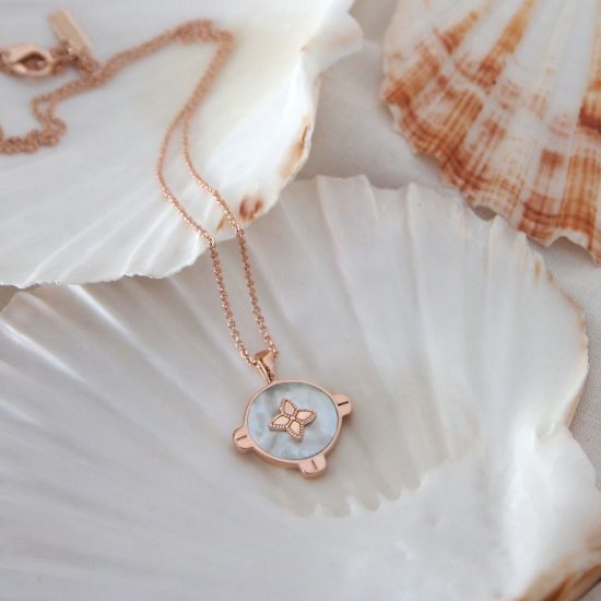 Harmony Mother of Pearl necklace Rose Gold