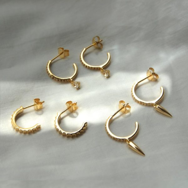 gold small hoop earrings tear drop dagger