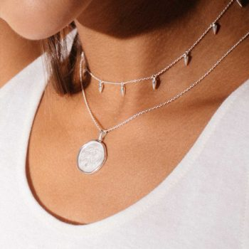 Silver Coin Necklace Love
