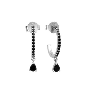 Tear Drop Hoops Black Spinel