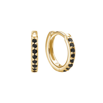 13mm huggies black spinel yellow gold